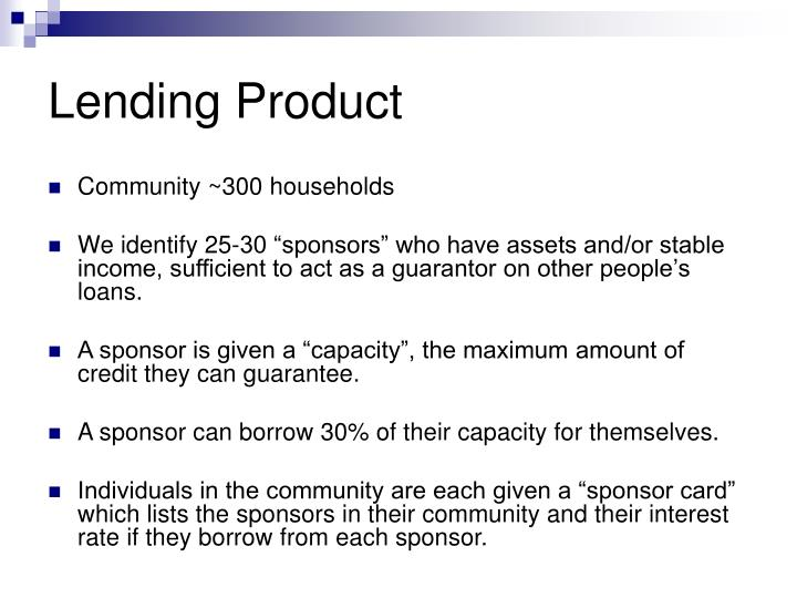 Lending Product