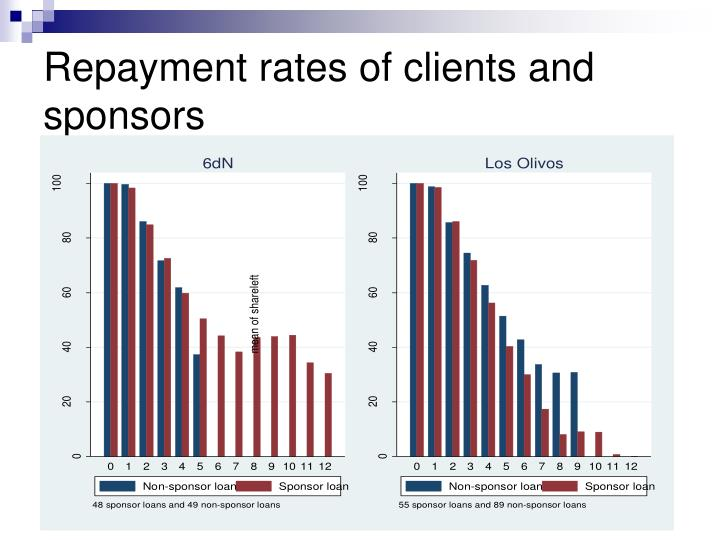 Repayment rates of clients and sponsors