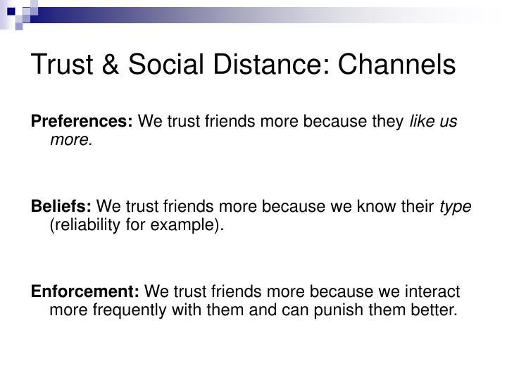 Trust & Social Distance: Channels