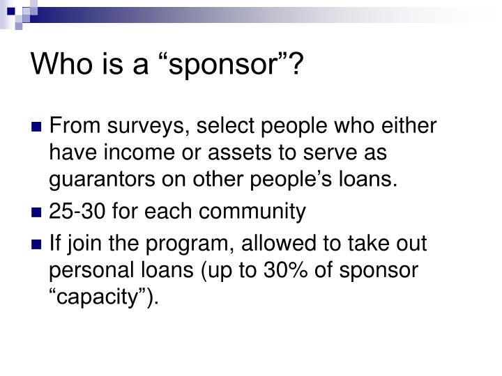 "Who is a ""sponsor""?"