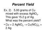 percent yield2