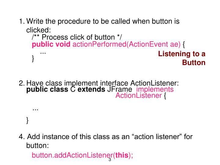 Listening to a Button
