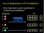 local importance of coordinates