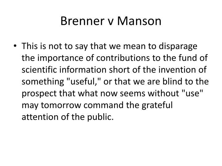 Brenner v Manson