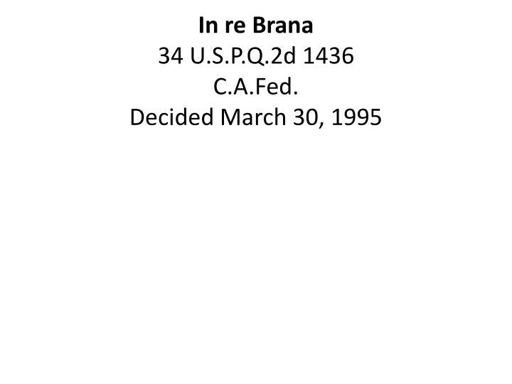 In re Brana