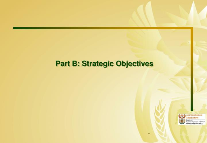 Part B: Strategic Objectives