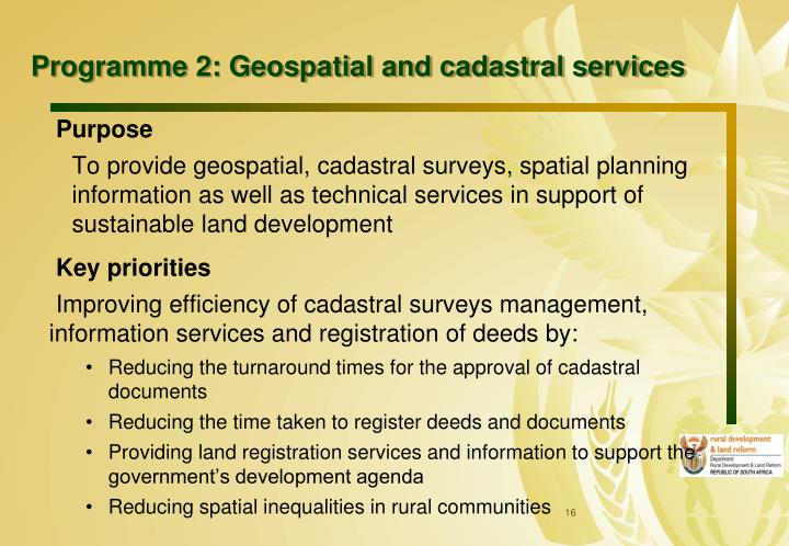 Programme 2: Geospatial and cadastral services