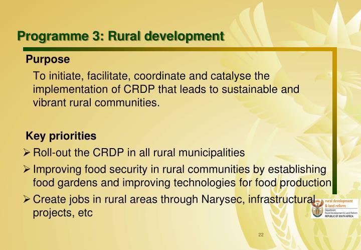 Programme 3: Rural development