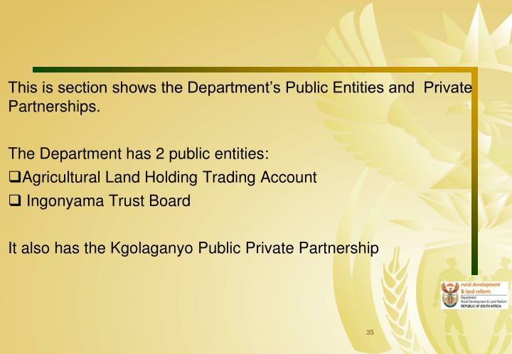 This is section shows the Department's Public Entities and  Private Partnerships.