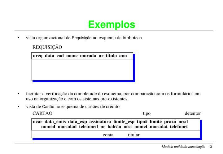 facilitar a verificação da completude do esquema, por comparação com os formulários em uso na organização e com os sistemas pre-existentes