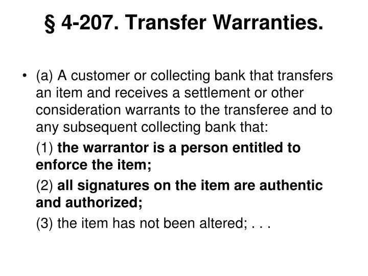 § 4-207. Transfer Warranties.