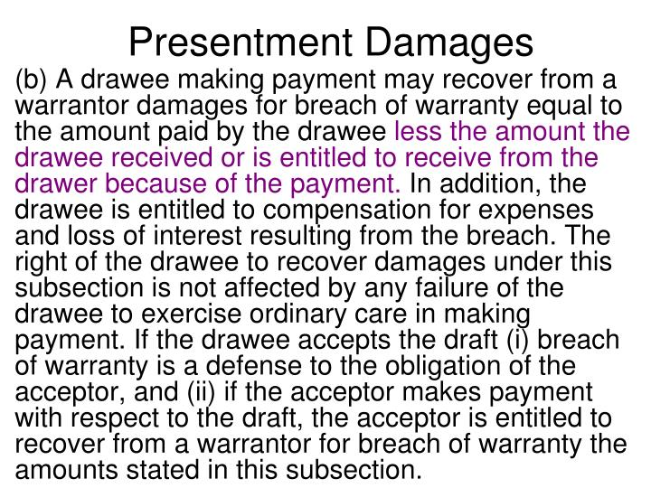 Presentment Damages