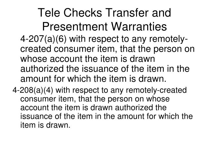 Tele Checks Transfer and Presentment Warranties