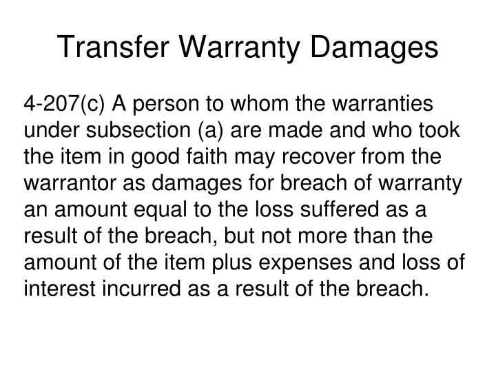 Transfer Warranty Damages