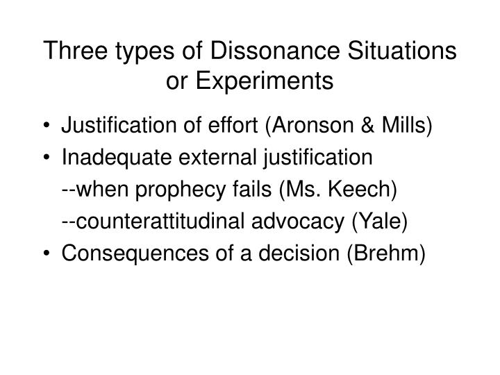 Three types of Dissonance Situations or Experiments