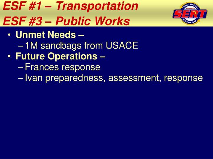 ESF #1 – Transportation
