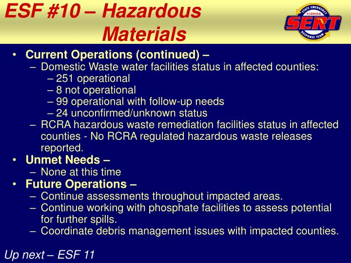 ESF #10 – Hazardous