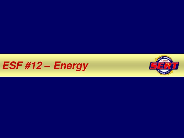 ESF #12 – Energy