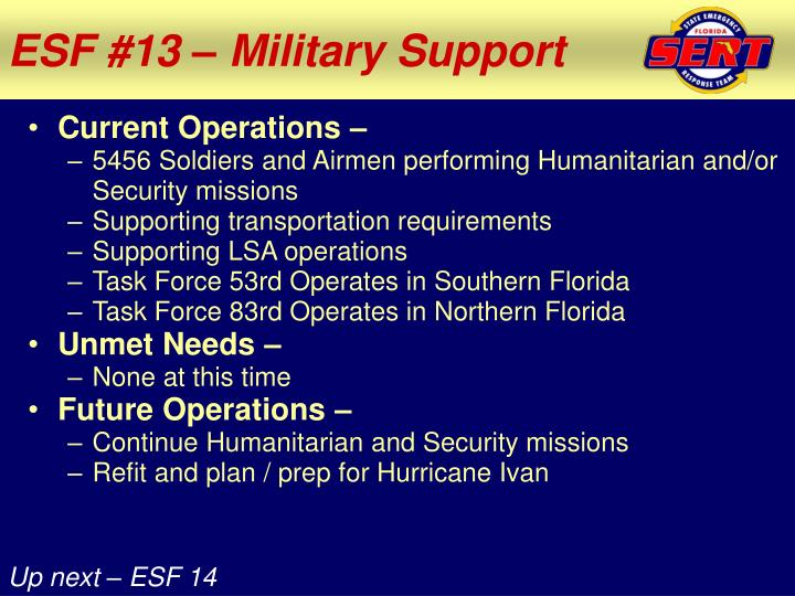 ESF #13 – Military Support