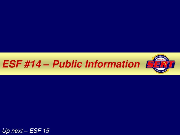 ESF #14 – Public Information