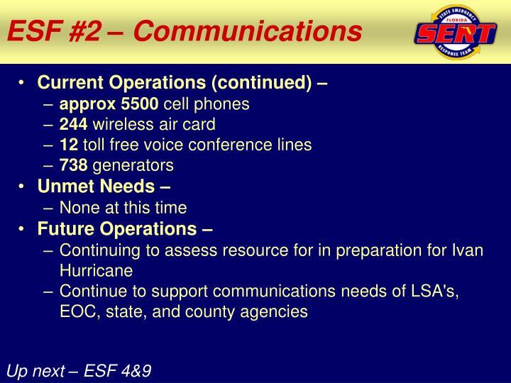 ESF #2 – Communications
