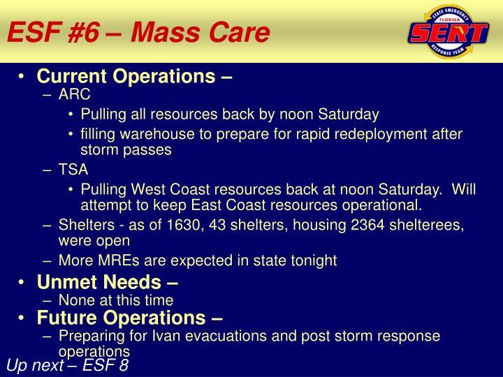 ESF #6 – Mass Care