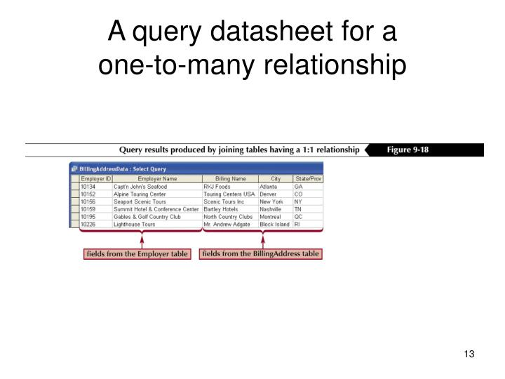A query datasheet for a