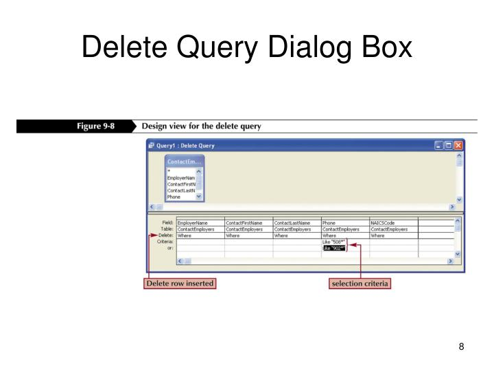 Delete Query Dialog Box