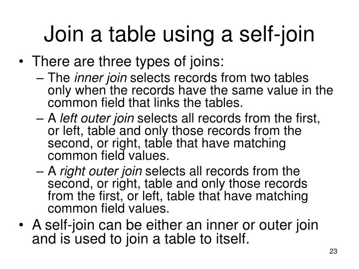 Join a table using a self-join