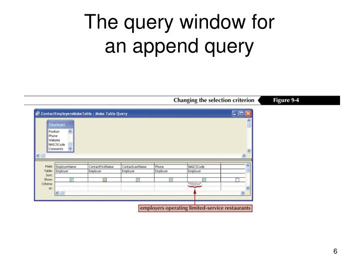 The query window for