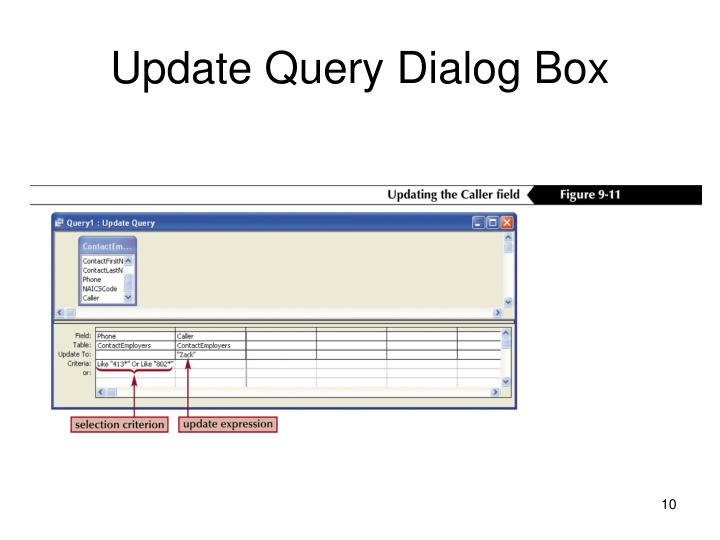 Update Query Dialog Box