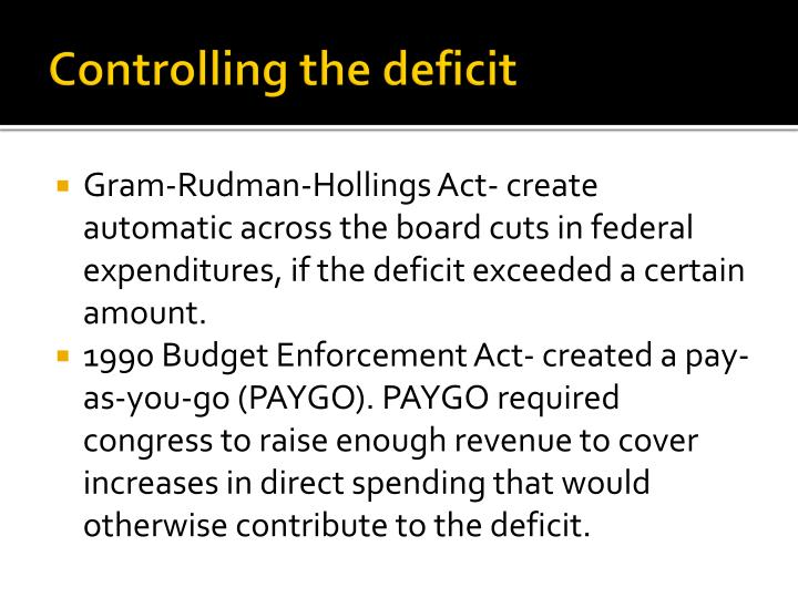 Controlling the deficit