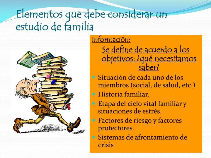 Elementos que debe considerar un estudio de familia