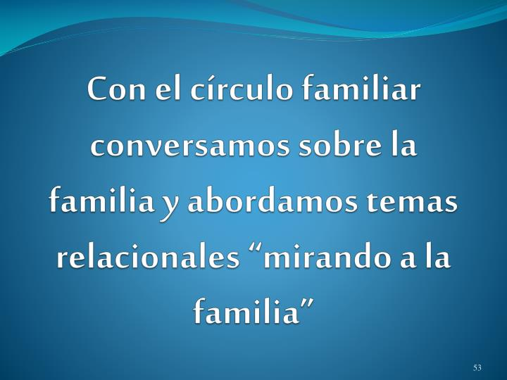 """Con el círculo familiar conversamos sobre la familia y abordamos temas relacionales """"mirando a la familia"""""""