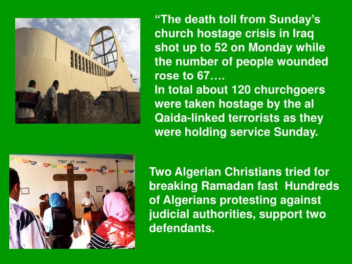"""The death toll from Sunday's church hostage crisis in Iraq shot up to 52 on Monday while the number of people wounded rose to 67…."