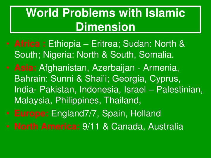 World Problems with Islamic Dimension