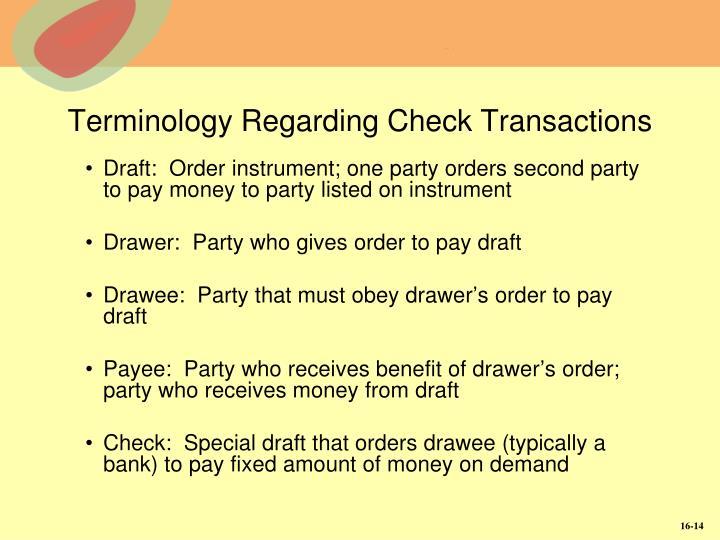 Terminology Regarding Check Transactions
