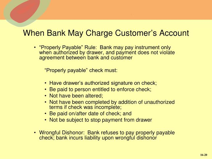 When Bank May Charge Customer's Account