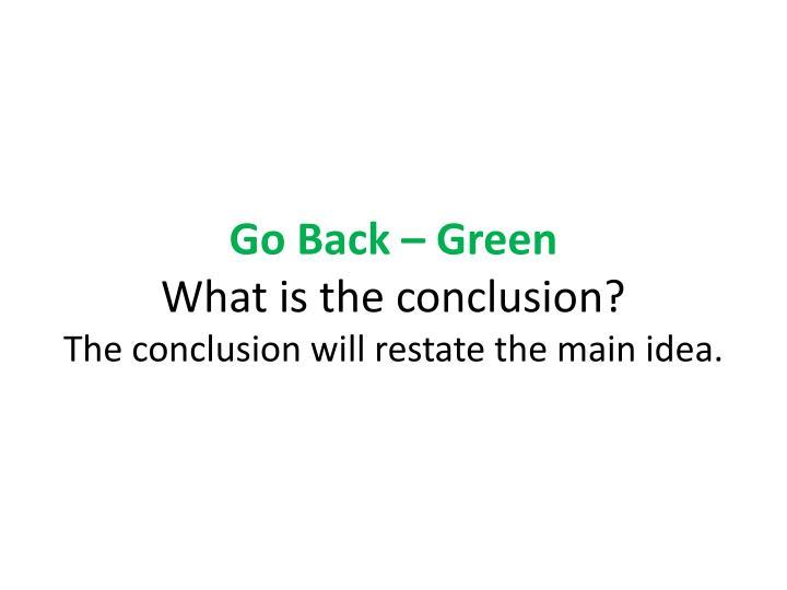 Go Back – Green