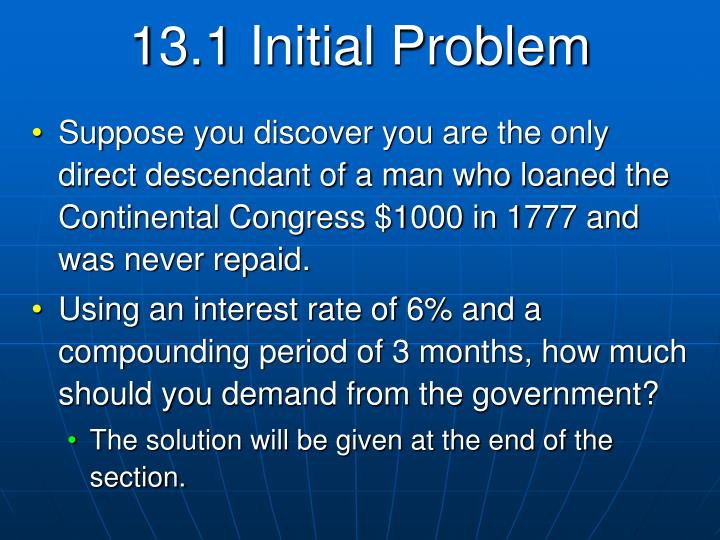 13.1 Initial Problem