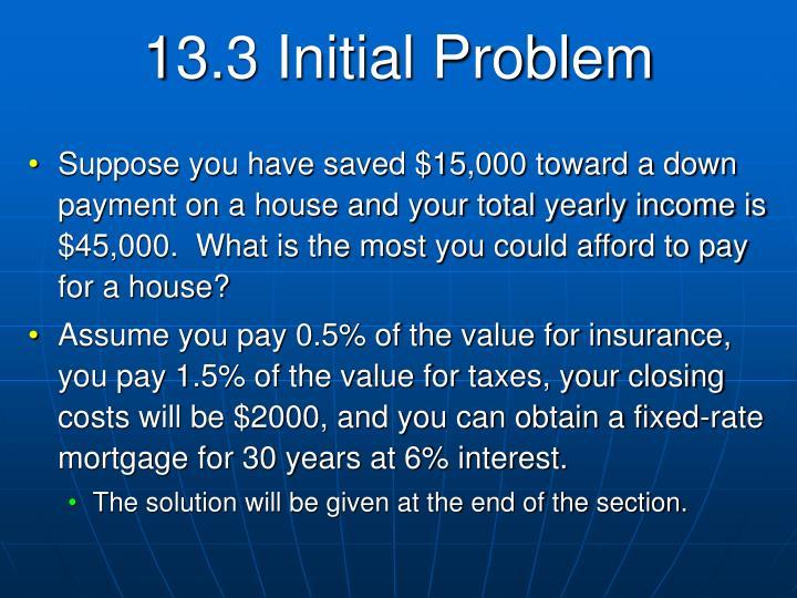 13.3 Initial Problem