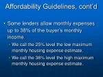 affordability guidelines cont d