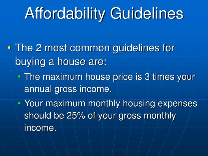 Affordability Guidelines