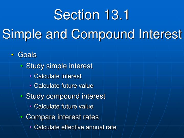 Section 13 1 simple and compound interest