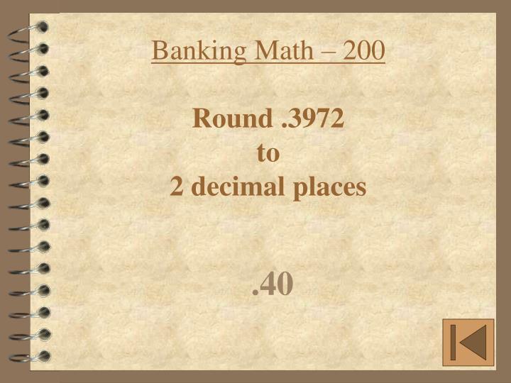 Banking Math – 200