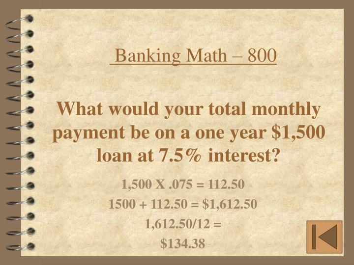 Banking Math – 800