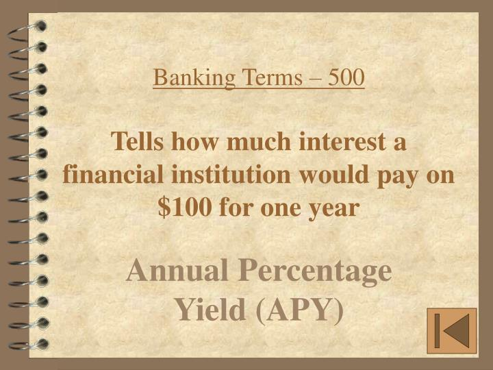Banking Terms – 500