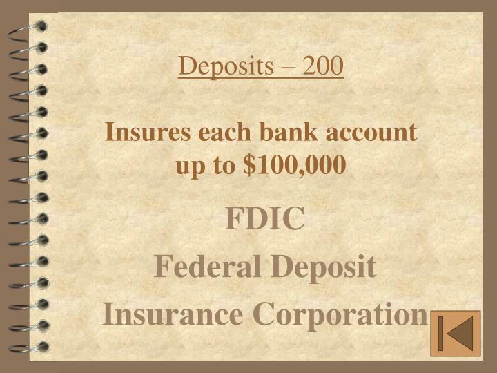 Deposits – 200