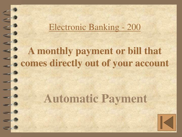 Electronic Banking - 200