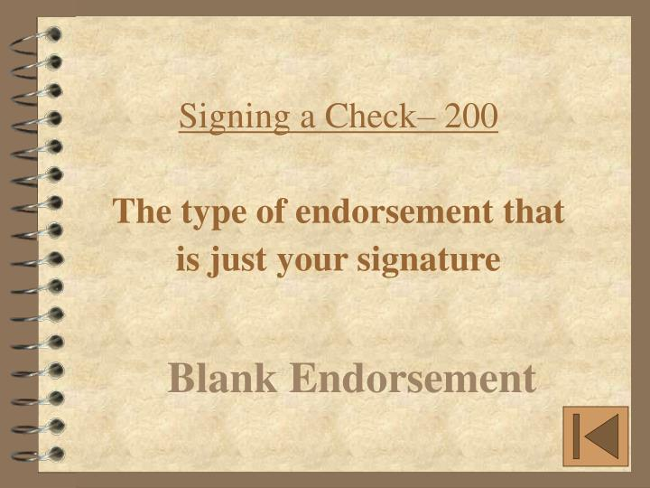 Signing a Check– 200